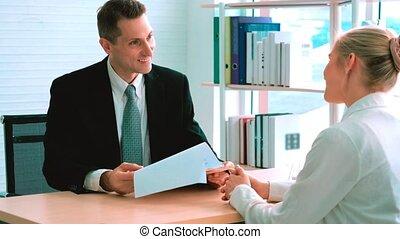 métier, directeur, entrevue, chercheur, réunion