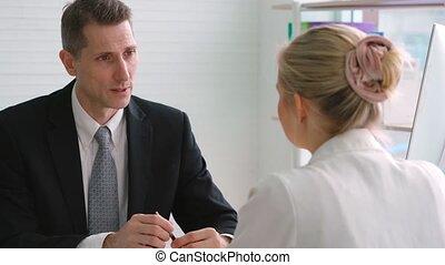 métier, directeur, réunion, chercheur, entrevue