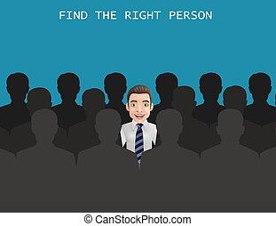 métier, droit, personne, trouver, concept