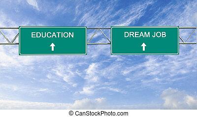métier, education, rêve, panneaux signalisations