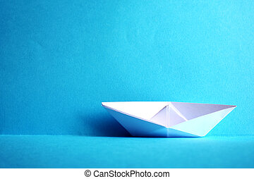 métier, gosses, bateau, origami, papier