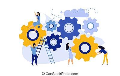 métier, groupe, développement, organisation, illustration, coopération, homme, concept, vecteur, teamwork., femme, bannière, mécanisme, structure, engrenage, main-d'oeuvre, processus, compagnie, collègue, business, compétence, person., cercle