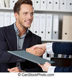 métier, interviewer, poignée main, quoique