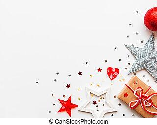 métier, plat, heart., étoiles, poser, sommet, text., fond, papier, endroit, présent, décorations, année, emballé, nouveau, vue., noël, rouges