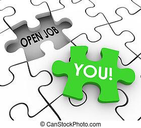 métier, puzzle, ouvert, position, vous, mot, remplir, trou