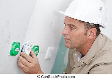 métier, résidentiel, fonctionnement, électricien, intérieur