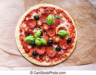 métier, restaurant, papier, jambon, délicieux, ingrédients, fond, fait maison, frais, pizza pepperoni, menu., lard, cuisson, vous, conception, viande