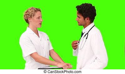 métier, sur, conversation, leur, médecins, deux