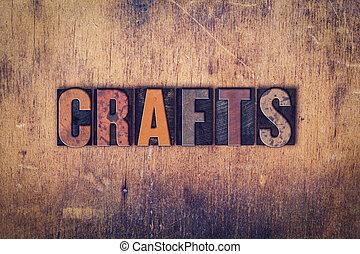 métiers, concept, bois, letterpress, type