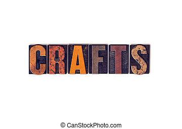 métiers, concept, isolé, letterpress, type