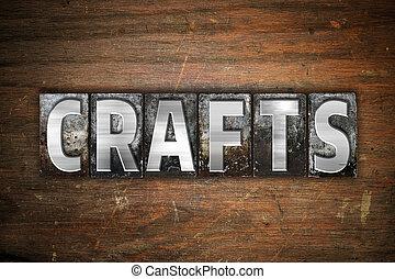 métiers, concept, métal, letterpress, type
