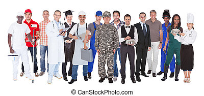 métiers, différent, longueur pleine, gens