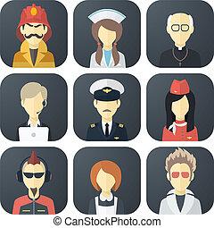 métiers, ensemble, icônes