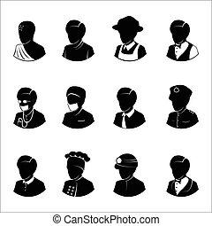 métiers, gens, icônes