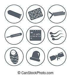 métodos, contracepción, iconos