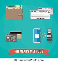 métodos, pagamento, ícones