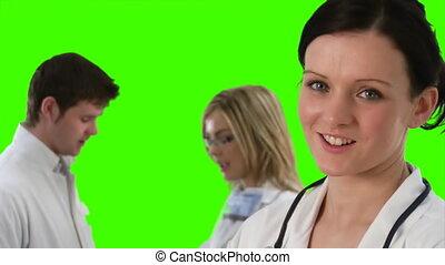 métrage, écran, 5, équipe, vert, monde médical