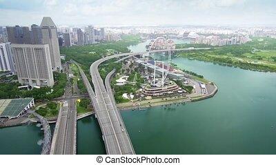 métrage, 1080p, entiers, singapour, hd, cityscape, urbain, skyscraper.