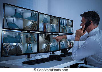 métrage, cctv, système, regarder, opérateur, sécurité