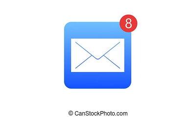 métrage, channel., arrière-plan., animation, alpha, courrier, blanc, icône