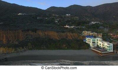 métrage, falaise, plage, usa, aérien, paysage, maison, ...