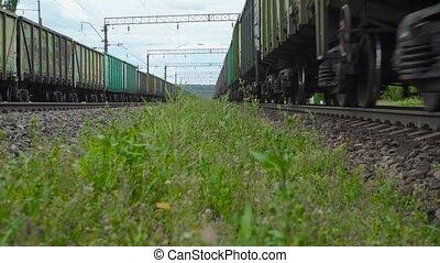 métrage, passer, train, fret, station