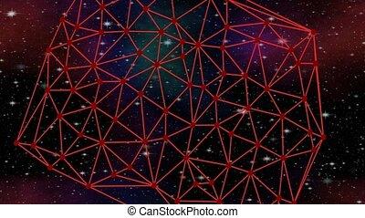 métrage, réseau, étoilé, nébuleuse, tourner, animation, triangulation, vfx, cosmos, delaunay, sci-fi, ciel rouge
