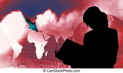 métrage, silhouetted, business