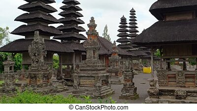 métrage, temple, ayun, royal, pagodes, stockage, 4k, taman, bali.