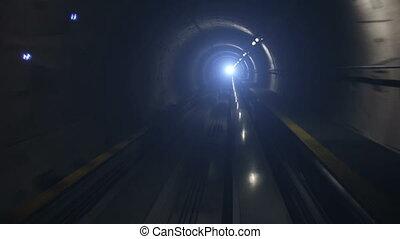 métro, en mouvement, tunnel, train