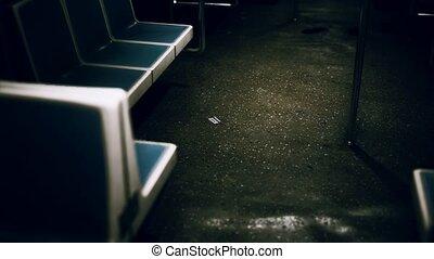 métro, new york, voiture, intérieur, vide