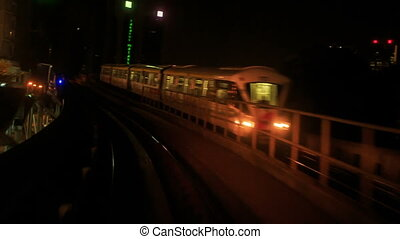 métro, rails, kl, appareil photo, nuit, long, mouvements