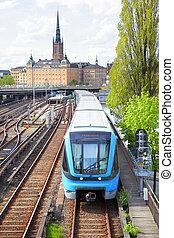 métro, train, dans, stockholm