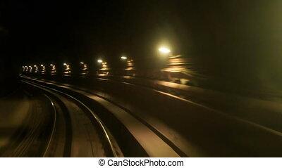 métro, tunnel, rails, sombre, appareil photo, en avant!, long, mouvements