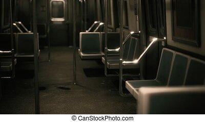 métro, vide, intérieur, york, nouvelle voiture