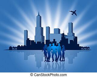 métropole, professionnels, businesspeople, en ville, spectacles