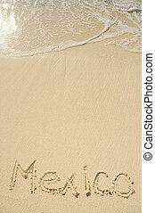 méxico, escrito, em, areia, ligado, praia