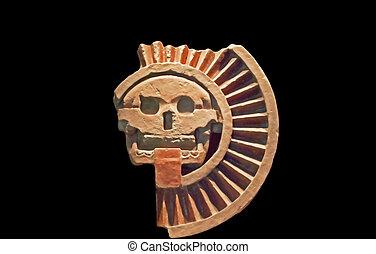 méxico, fragmento, sol, pre-colombino, escultura, templo