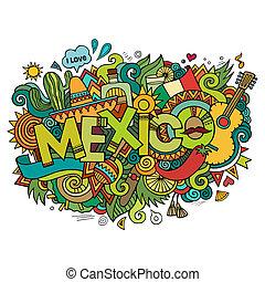méxico, mão, lettering, e, doodles, elementos, fundo