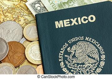 méxico, passaporte, e, moeda corrente mundo