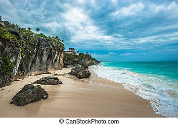 México, playa,  yuacatan, arena, blanco, Ruinas,  Tulum