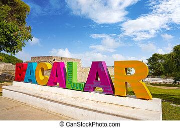 México,  quintana,  roo, señal, palabras,  bacalar