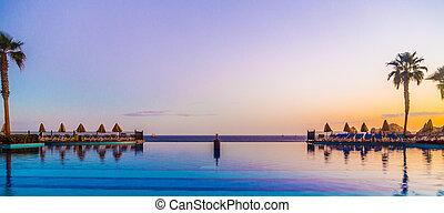 méxico, recurso, luxo, poolside, praia, vista