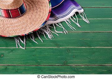 méxico, sombrero, mayo, de, cinco, madeira, fundo, serape, cobertor