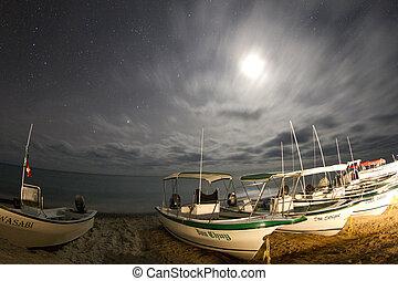 méxico, sur, océano, barcos, california, estrellas, noche,...