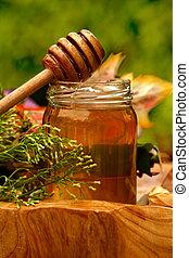 méz, friss, bögre, szitál