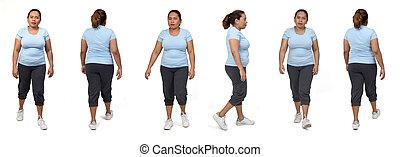 même, femme, fond, marche, vue, dos, côté, blanc, devant, vêtements de sport