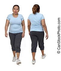 même, femme, fond, marche, vue frontale, dos, blanc, vêtements de sport
