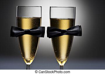 même, sexe, décoration, conceptuel, lunettes champagne