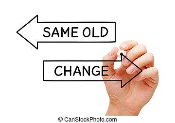 même, vieux, ou, changement, flèches, concept